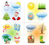 Seasons icon set: winter, spring, summer, autumn. — Stock Vector