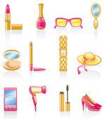 Women accessories icon set. — Stock Vector