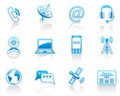 Communication blue icon set — Stock Vector