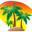 Palm island at sunset background. — Stock Vector