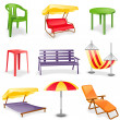 Stock Vector: Garden furniture icon set