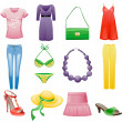 Women's clothes and accessories summer icon set. - Stock Vector