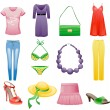 Women's clothes and accessories summer icon set. — Stockvector  #5871897