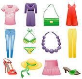 Women's clothes and accessories summer icon set. — Vector de stock