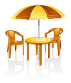 Furniture: table, chair, parasol. — Stock Vector