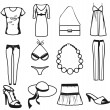 Stock Vector: Women clothes and accessories summer icon set