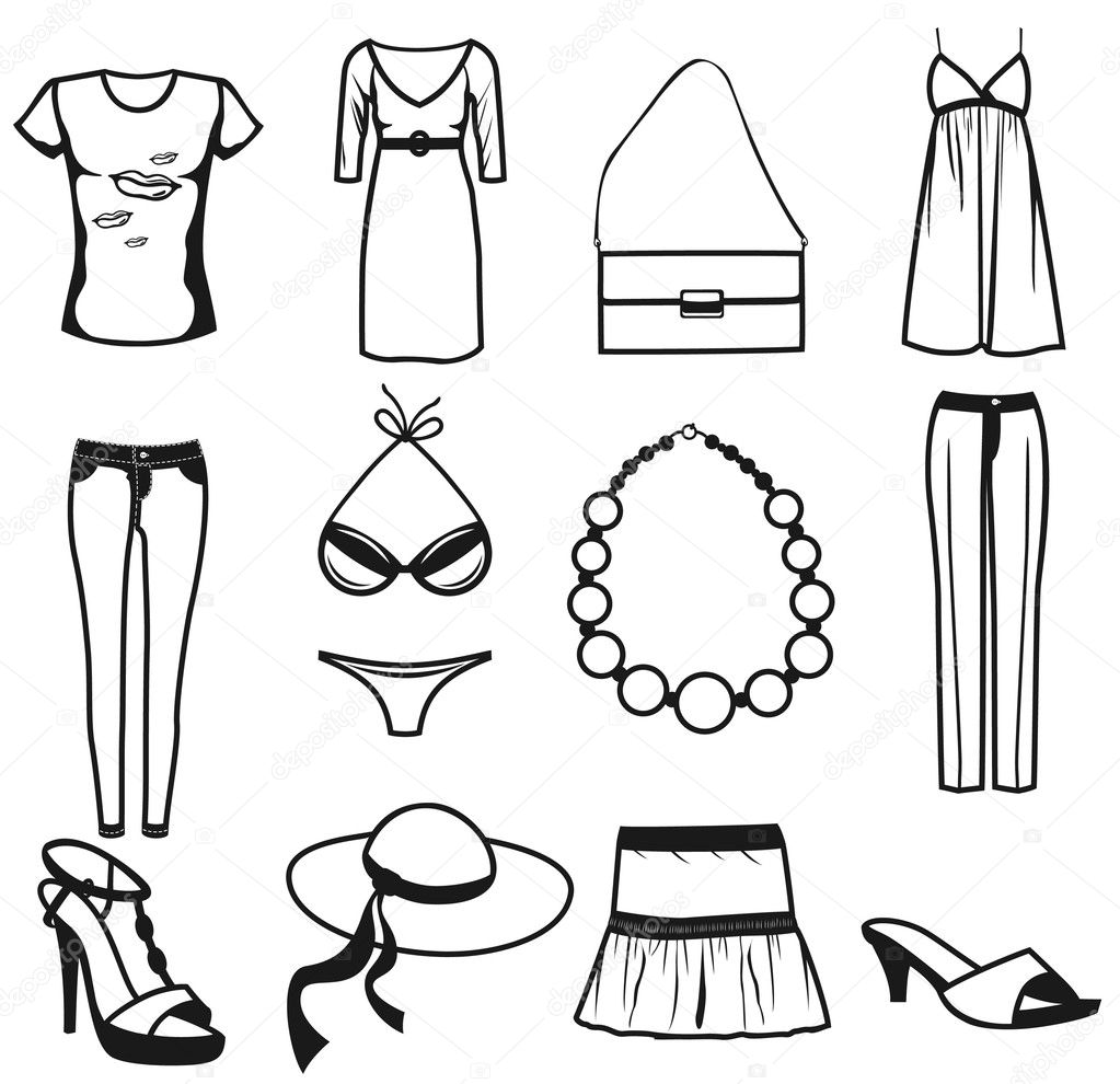 Women clothes and accessories summer icon set - Stock Illustration