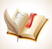 Open book and quill. — Vector de stock