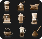 Coffee black background icon set. — Stock Vector