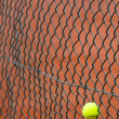The tennis ball has got stuck in a metal grid - Stock Photo