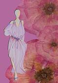 Stijl vrouw met roos — Stockfoto