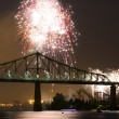 Fireworks Exhibition with bridge - Stok fotoğraf
