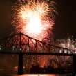 Fireworks Exhibition with bridge - Stock Photo