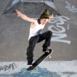 Stock Photo: Skateboard Ollie on ramp