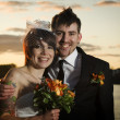 Portrait of punk rock newlyweds — Stock Photo