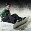 Snowboarder sitting in snow — Stock Photo