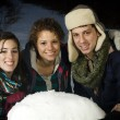 Three friends enjoying playing in the snow — Stock Photo