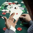 Poker player with ace up his sleeve — Stock Photo