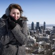 Woman freezing on winter day — Stock Photo