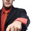 Business man pointing with hand in focus — Stock Photo