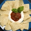 Stock Photo: Plate of nachos with sour cream and salsa