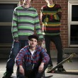 Group of three skateboarder friends — Stock Photo