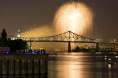 Fireworks Exhibition with bridge — Stock Photo