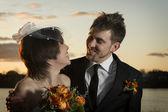 看着海誓山盟的新婚夫妇的肖像 — 图库照片