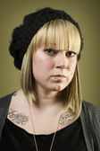 Portrait of pretty girl with tattoos — Stock Photo