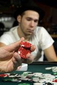 Celebración de fichas de póker — Foto de Stock