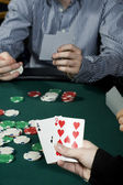 Holding poker hand — Stock Photo