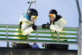 Two girls on chairlift — Stock Photo