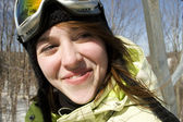 Close up of beautiful woman skier — Stock Photo