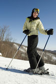 Woman happy to be outside skiing — Stock Photo