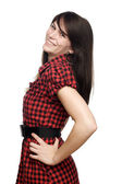 Young woman with head back smiling — Stock Photo
