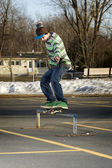 Young skateboarder performing a 50-50 grind — Stock Photo