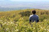 Hombre de pie en campo en pico de la montaña — Foto de Stock