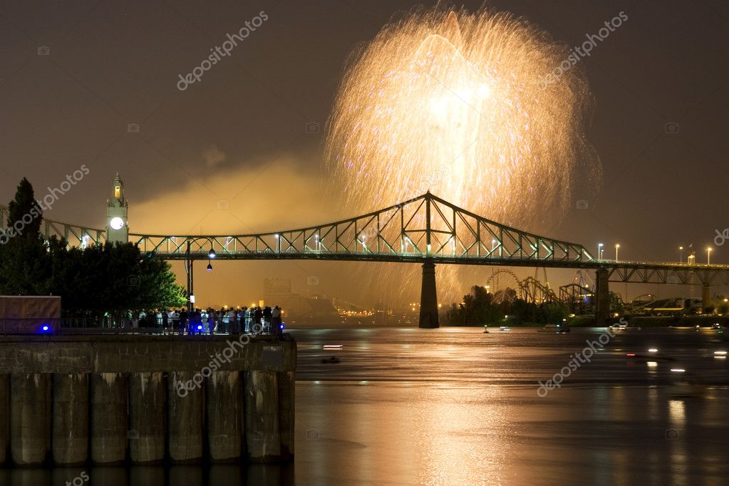 Fireworks Exhibition with bridge  Stock Photo #5852253