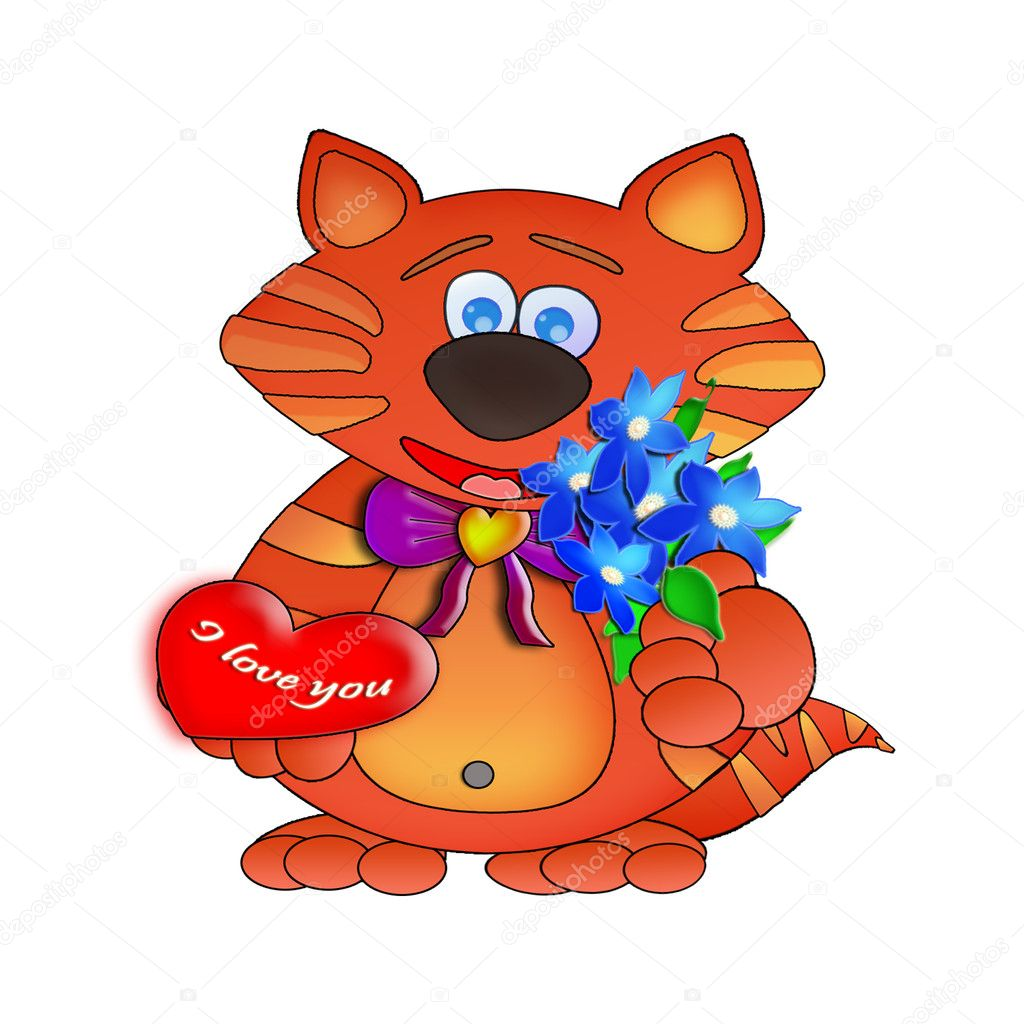 Cat, 3D, love, heart, red, a bouquet, feelings, a kitten, relations, an illustration, a background, an animal, — Stock Photo #6256502