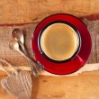 Espresso coffee, red enamel mug, two old silver spoons, two wood — Stock Photo
