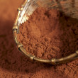 Cocoa powder in old rustic style silver sieve — Stock Photo
