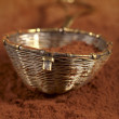 Old rustic style silver sieve with cocoa powder in , shallow dof — 图库照片