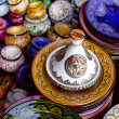 Stock Photo: Decorated tagine and traditional morocco souvenirs in medinso