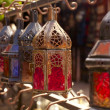 Moroccan glass and metal lanterns lamps in Marrakesh souq — Stock Photo #5612268