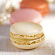 Macarons, colorful, shiny glitter backdrop, shaloow dof - Stock Photo
