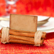 Aromatic christmas place setting place  with card - Stock Photo