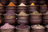 Dried herbs flowers spices in the Marrakesh street shop — Stock Photo