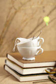 Spring tea breake, tea cups with diaries and twigs, — Stock Photo