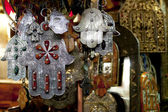 Moroccan Khamsa hamsa Hands of Fatima Good Luck in medina souk — Stock Photo