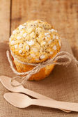 Poppy seed muffin in rustic style — Stock Photo